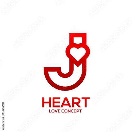 quotletter j heart red color logovalentine day love concept