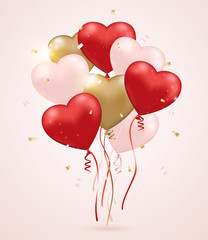 Red and golden heart balloons