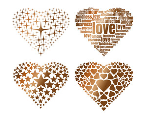 Set hearts consisting of gold items. Set of icons of gold hearts for Valentine's Day. Vector illustration