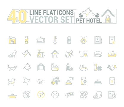 Vector graphic set. Icons in flat, contour, thin and linear design. Hotel for pets. Simple icon on white background.Concept illustration for Web site, app. Sign, symbol, emblem.