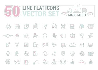Vector graphic set.Icons in flat, contour,thin and linear design.Mass media.Organs of public opinion.Simple isolated icon on white background.Concept illustration for Web site, app.Sign,symbol,emblem.