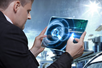Business, Technology, Internet and network concept. Businessman