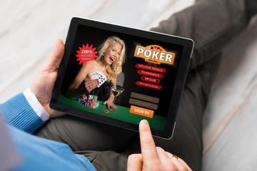 Man playing poker online