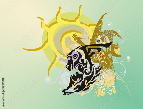 Eagle Horse Symbol Against The Ornate Sun Abstract Symbol In The