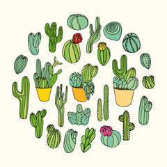 Set of various hand drawn vector cactus and succulent