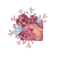 watercolor composition with flowers and geometry,branch Flowers with bud , Floral composition. Illustration, greeting card