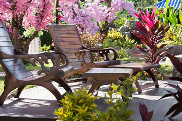 two table and chairs in garden