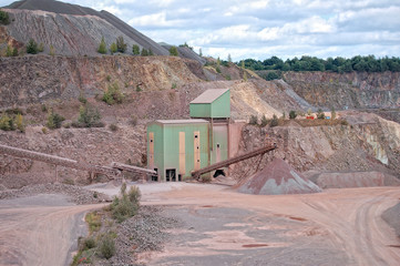 View into a quarry mine and stone crusher