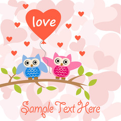 romantic card with owls