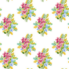 Seamless pattern with a bouquet of spring flowers, mimosa, snowdrops, violets.