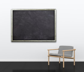 3d interior rendering of living room scene with gray modern chair and blank blackboard picture frame