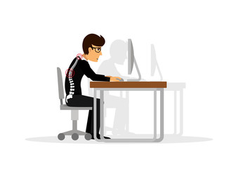 flat illustration for office syndrome. Wrong sitting in the workplace. Eyes inflammation, obesity, stomach ache, knees pain, headache, hands pain, lower back pain.
