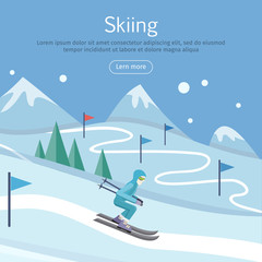 Skiing Banner. Skier on Snowy Sope. Way in Hills