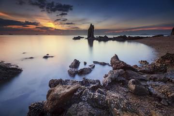 Seascape during sunset. Beautiful natural summer seascape during sundown.