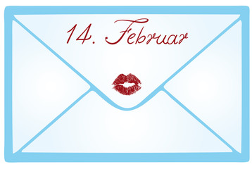 Fourteenth February lettering on a love letter