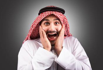 Shocked Arabian man