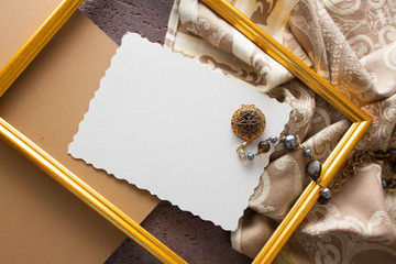 beige drapery and wooden frame, vintage background