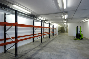or new empty warehouse room with nothing, white color,