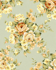 Door stickers Vintage Flowers Fresh spring flowers seamless pattern - For easy making seamless pattern use it for filling any contours