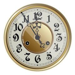 Antique old clock face. Vector illustration.