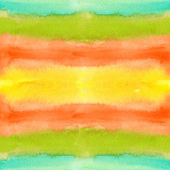 Seamless background pattern with horizontal wide colorful fuzzy stripes painted in watercolor