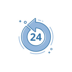 Vector illustration of flat bold line icon. Graphic design concept of open 27/7.