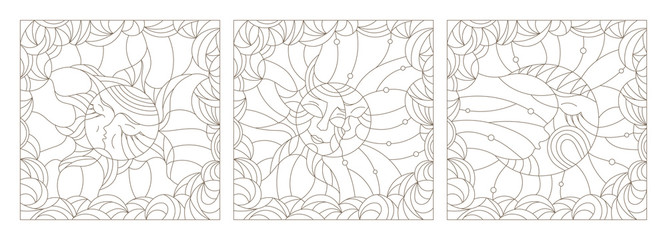 Set contour illustrations of the stained glass Windows with the heavenly luminaries, the sun and the moon on a background of clouds and sky