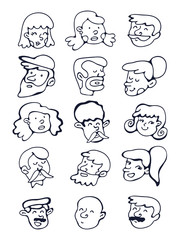 Cute collection of hand drawn faces.