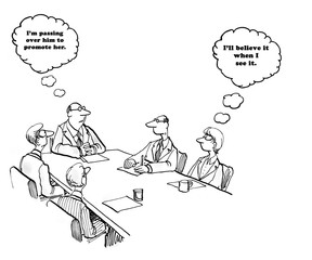 Business cartoon about a  boss planing to promote a female.