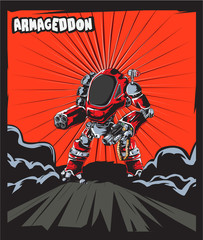 Warrior Robot Comic Cartoon Poster