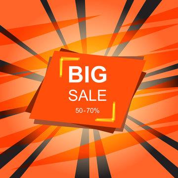 Hot big sale banner on red background