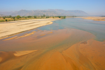 The Faro River that flows over the Nigeria–Cameroon border in Africa