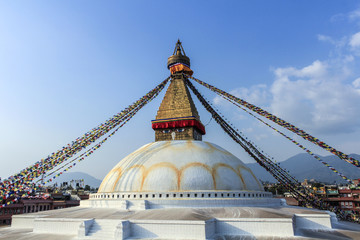 Tibetan flags in Boudhanath Stupa