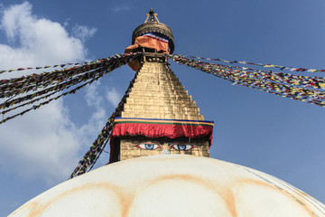 Tibetan flags in Boudhanath Stupa