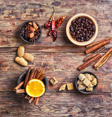 set of coffee spices