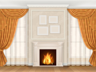 Vector realistic interior of living room in classic style, with fireplace. Pictures in frames hanging on the wall. Windows decorated beautiful curtains.