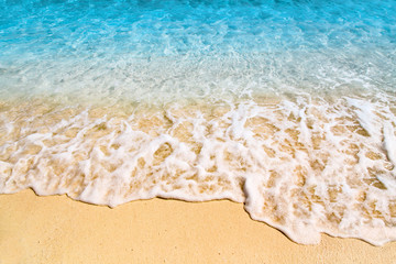 Wall Mural - Soft wave at tropical sand beach island, Maldives