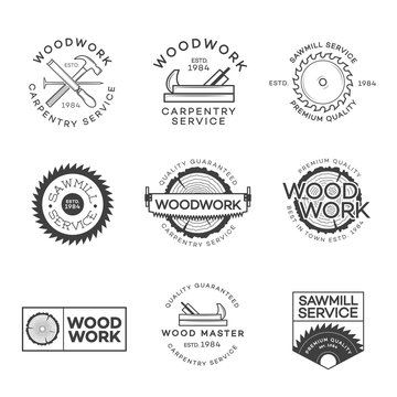Set of carpentry, sawmill and woodwork labels