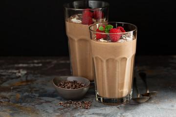 Printed kitchen splashbacks Milkshake Chocolate banana smoothie with cocoa nibs