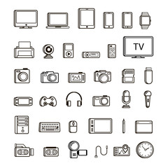 Set of multimedia device icon black and line style