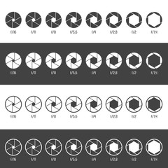Aperture icon set. Vector Illustration