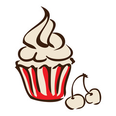 graphic design editable for your design, hand drawn cupcake and cherry isolated on white background. Vector Illustration.