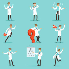 Doctor Work Process Collection Of Hospital Related Scenes With Young Medical Worker Cartoon Character