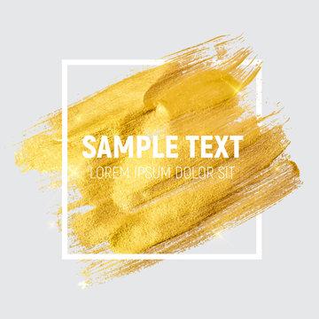 Gold Paint Glittering Textured Art Illustration. Vector Illustra