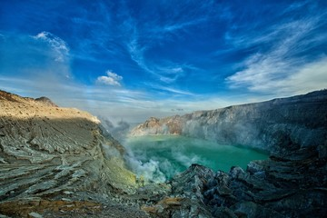 Ijen volcano turquoise-coloured acidic crater lake