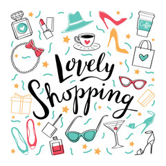 Love shopping2/To shop. Vector hand drawn illustration. Fashionable accessories.