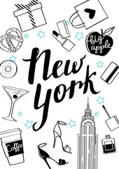 New year4/New York. Vector hand drawn illustration. Fashionable accessories.
