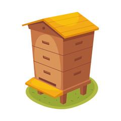 Manmade Wooden Farm Beehive Cartoon Illustration
