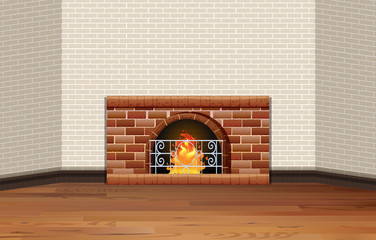 Room with fireplace and brick wall