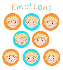Лицо мальчика с разными эмоциями. детская иллюстрация